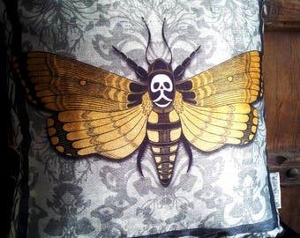 """Deaths head Moth Cushion - Bayeux, 16"""" Macabre Hand-drawn Victorian Gothic"""