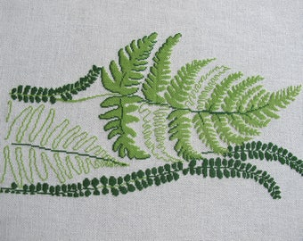 Embroidery leaves with green ferns in cross stitch