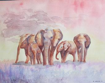 Watercolor of a herd of elephants in warm colors