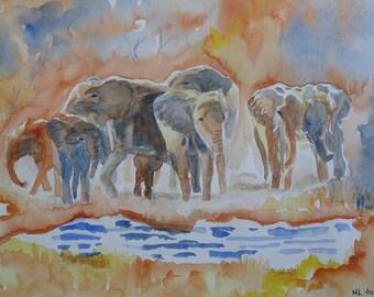 Orange elephant watercolor