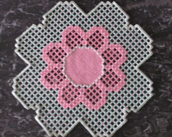 Pink and green Hardanger embroidery doily