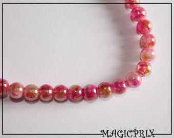 SET of 135 pink Ø 6 mm m2520 & Pearly yellow glass beads