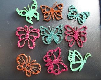 set of 9 craft glitter butterflies