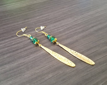 Long green drop Earrings
