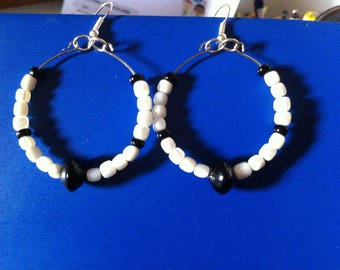 Memory wire hoops and pearls