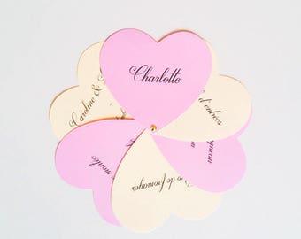Place hearts original and customizable wedding menu brand