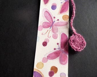 watercolor and hand made crochet bookmark