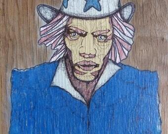 painting on wood, portrait of Jimi Hendrix