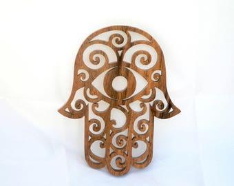 Hand of Fatima, the Hamsa, Chamsa the Walnut - wood-cut