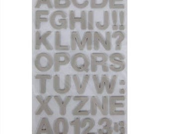 Stickers to foam Alphabet and numbers gray x 104 - love - Ref 13646