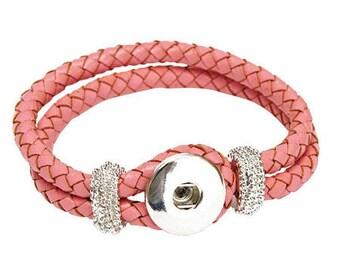 Snap Clixy 20 cm leather bracelet - pink - Ref 5308 20451 (snap button)
