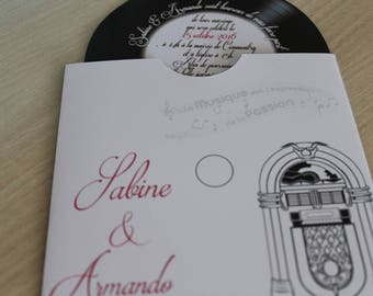 Vinyl music or 60's theme invitation