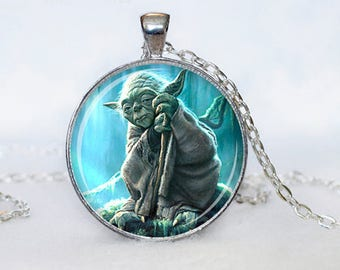 A beautiful necklace with a glass cabochon 25 mm STAR WARS