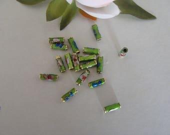 Set of 12 green cloisonne tube beads