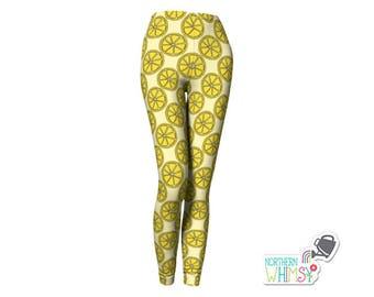Lemon Slice Leggings - Yellow womens' leggings with a citrus pattern - US ladies' sizes XS, S, M, L, and XL