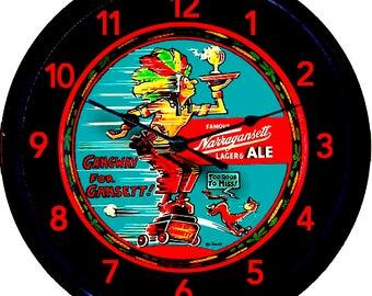 """Beer, Narragansett, Dr Seuss, Chief Gansett, Beer Tray, Wall Clock, Ale, Lager, Beer Clock, Cranston, Rhode Island, Man Cave, New 10"""""""