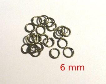 Set of 10 rings bronze 6 mm - lead and nickel free