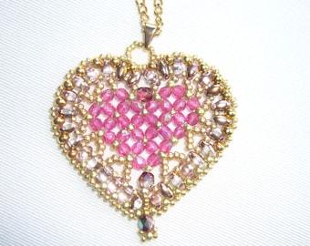 Woven pendant Swarovski heart