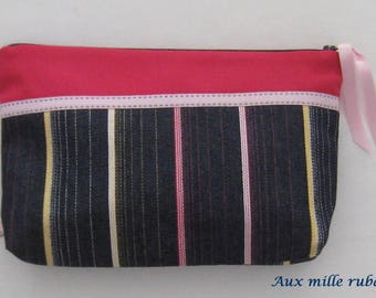 Navy and pink striped denim clutch