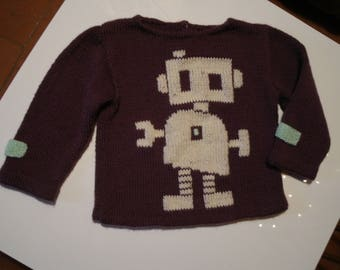 sweater 12 to 15 months, plum color with embroidered robot in off-white, 100% pure wool