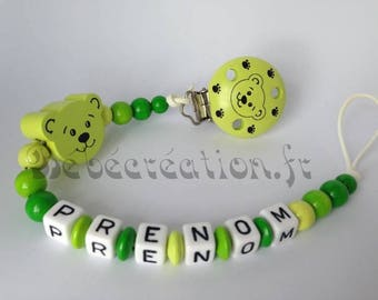 Green bear small personalized pacifier