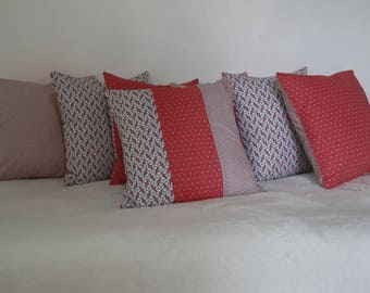 Matching cushion covers 40 * 40 pink cotton fabric with graphic patterns