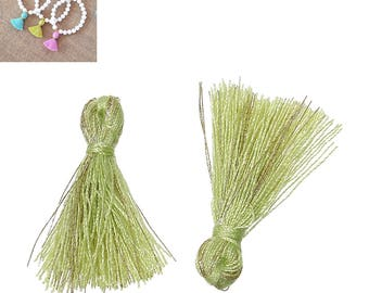 20 charms 25mm - Green-SC64857 Polyester fringe tassels-