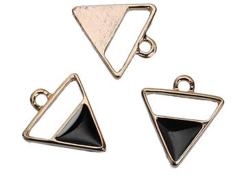10 charms triangles gold black 18x16mm - creating jewelry-
