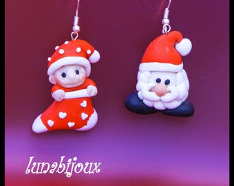 polymer clay earring Santa Claus Jewelry Gifts