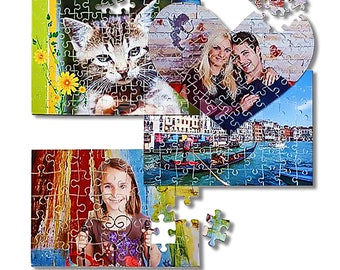 60 cardboard puzzle pieces for personalization with photo