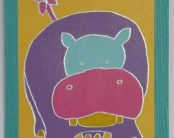Painting on wood frame purple Hippo Green