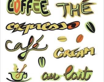 """Gluttony"" - coffee, chocolate, tea Stickers"