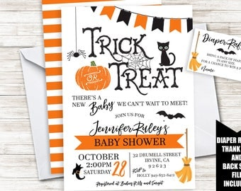 Halloween Baby Shower Invite Invitation 5x7 Digital Sprinkle Boy Girl Neutral Spooky Trick or Treat