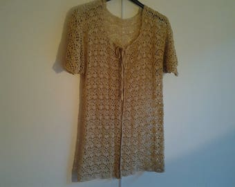Women bolero vest handmade crochet beige cotton with the pattern