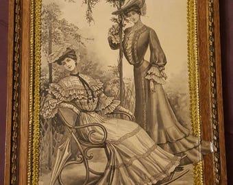 Vintage restored frame N 171 engraving 01 May 1904