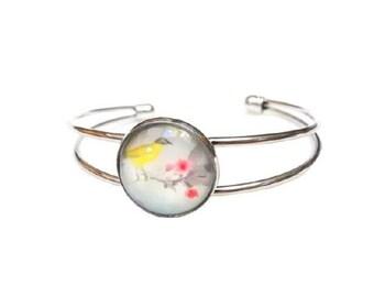 Bracelet stiff bird glass dome cabochon ● ●