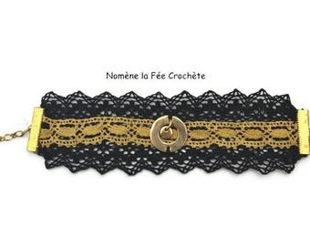 Bracelet handmade jewelry round metal, Gothic, steampunk, baroque, Victorian, black and gold lace