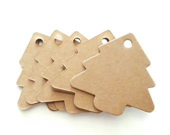 15 Christmas tree kraft tags size 5.5 x 5.4 cm for embellishment and creation