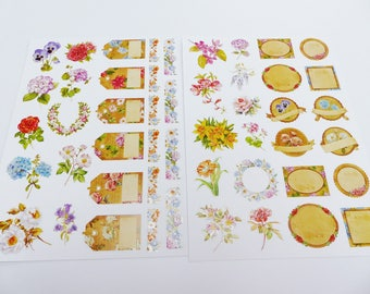 2 sheets stickers size A4 label and pink pansies border hydrangea flowers