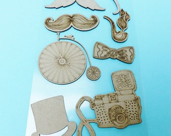9 large embellishment wooden mustache pipe bike vintage bow tie top hat monocle camera