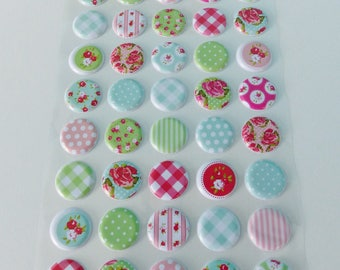 45 puffy stickers stickers raised domed gingham polka dot flower stripe red blue green pink