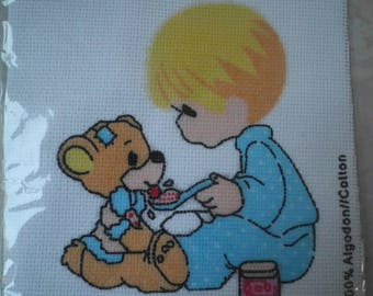 """Kids Embroidery Kit """"boy and his teddy bear"""""""