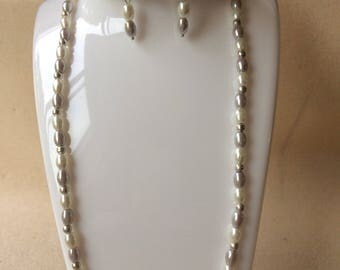 White and lilac pearl beaded bracelet, necklace and earrings set Handmade