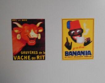 Set of 2 vintage adverts magnets