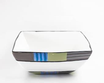 medium hand painted porcelain square Bowl