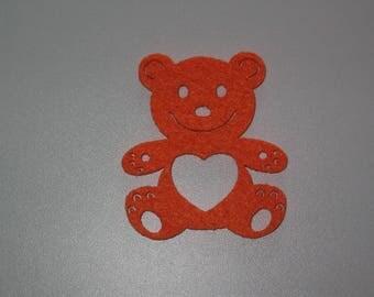 Orange bear felt perforated for embellishment
