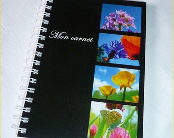 """Notebook handmade 10x14cm lined blanket with photos of flowers """"Mon carnet"""""""