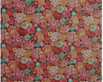 Japanese patchwork with multicolored flowers fabric