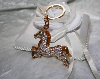 rhinestone horse bag charm Keyring