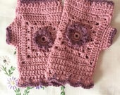 Crochet wristwarmers, fingerless gloves, fingerless mitts, pink gloves